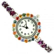 Нежные Серебряные Часы для Женщин с Натуральным Родолитом и Сапфиром