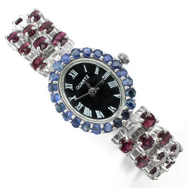 Восхитительные Женские Наручные Часы из Серебра с Родолитом, Сапфиром