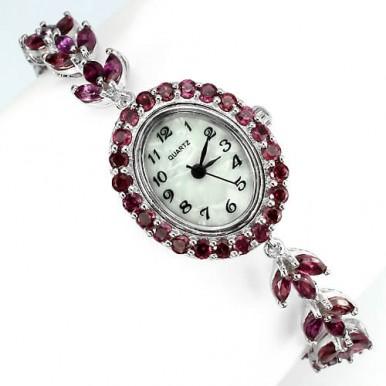 Красивые Наручные Серебряные Часы для Женщин с Натуральным Родолитом