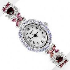 Милые Часы из Серебра для Женщин с Родолитом, Танзанитом и Топазом