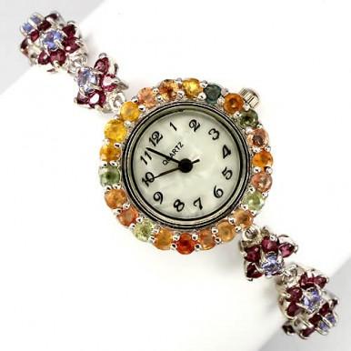 """Великолепные Серебряные Часы """"Цветок"""" с Родолитом, Танзанитом, Сапфиром"""