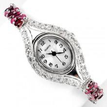 Прекрасные Серебряные Женские Часы с Родолитом, Рубином и Топазом