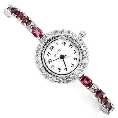 Натуральный Родолит и Белый Топаз Серебряные Женские Часы на Руку