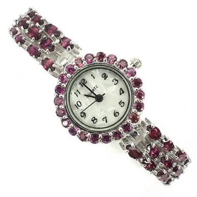 Потрясные Серебряные Ювелирные Часы для Женщин с Родолитом