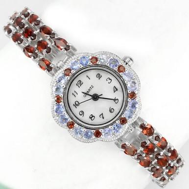 Красный Гранат и Танзанит Женские Ювелирные Наручные Часы из Серебра