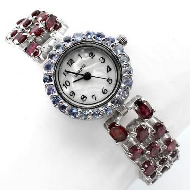 Родолит и Голубой Танзанит Ювелирные Женские Серебряные Часы на Руку