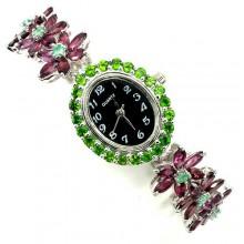 Потрясающие Женские Серебряные Часы на Руку с Родолитом и Изумрудом