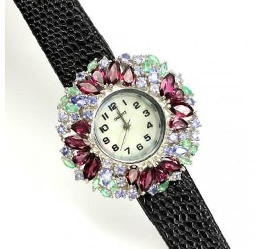 Блестящие Серебряные Наручные Часы на Кожаном Ремешке с Родолитом