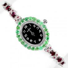 Природный Родолит, Рубин и Изумруд Женские Ювелирные Часы из Серебра