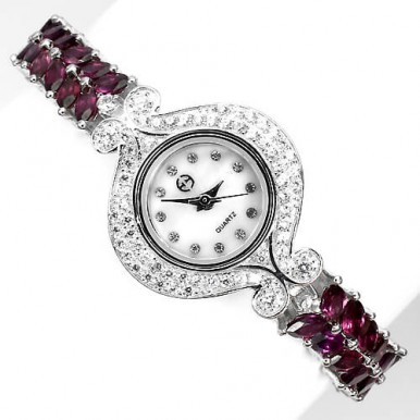 Ослепительные Серебряные 925 Женские Часы с Природным Родолитом