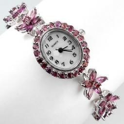 Яркие Ювелирные Часы для Женщин из Серебра 925 Пробы с Гранатом