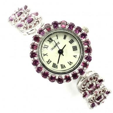 Драгоценные Женские Часы из Серебра с Родолитом и Рубином