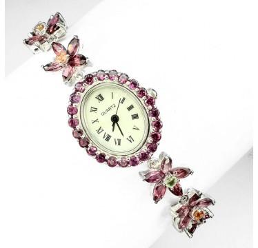 Красивые Женские Часы из Серебра с Гранатом Родолитом и Сапфирами