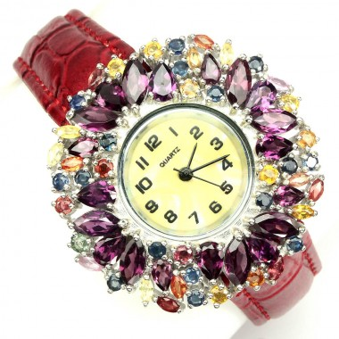 Кожаные Женские Серебряные Часы с Родолитом и Сапфиром