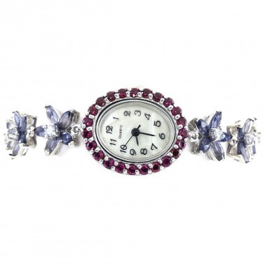 Цветочный Браслет Часы Серебро с Иолитом, Родолитом и Танзанитом