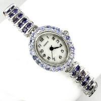 Природные Синий Иолит и Танзанит Серебряные наручные Часы для Женщин