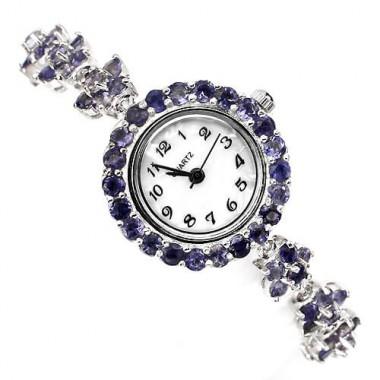 """Великолепные Серебряные Часы """"Цветок"""" с Натуральным Иолитом"""