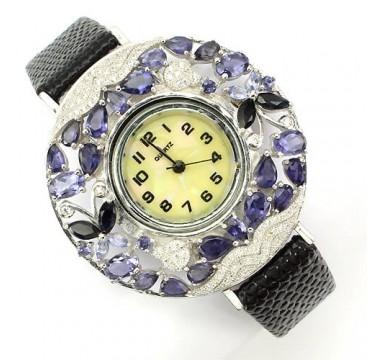 Эксклюзивные Серебряные Женские Часы с Иолитом на Кожаном Ремешке