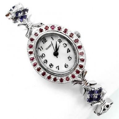 Натуральные Камни Иолит и Рубин Серебряные Женские Наручные Часы