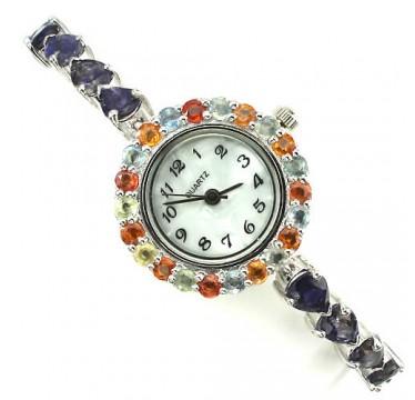 Прекрасные Серебряные Часы с Синим Иолитом и Разноцветным Сапфиром