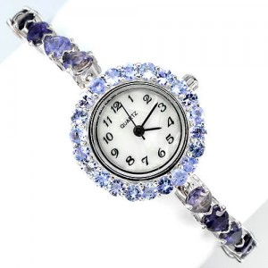 Восхитительные Серебряные Женские Часы с Иолитом и Танзанитом