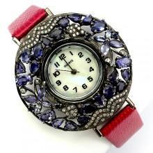Потрясающие Серебряные Часы на Кожаном Ремешке с Иолитом