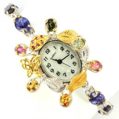 Ручная Работа! 925 Серебряные Часы для Женщин с Природным Иолитом