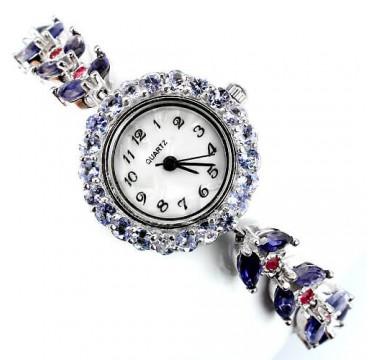 Замечательные Женские Часы Браслет из Серебра с Иолитом и Рубином