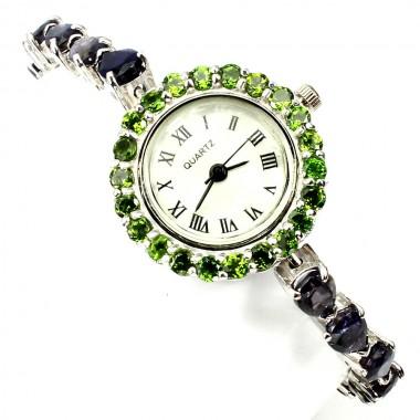 Серебряные Наручные Часы для Женщин с Натуральным Иолитом