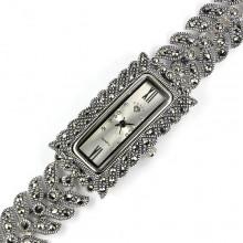 Модные Серебряные Женские Часы на Руку с Марказитом и Фианитом