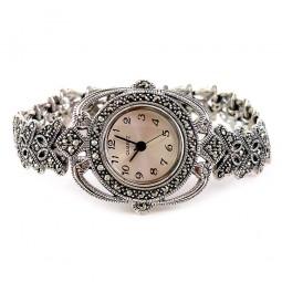 Бабочка Серебряные Женские Ювелирные Часы с Марказитом