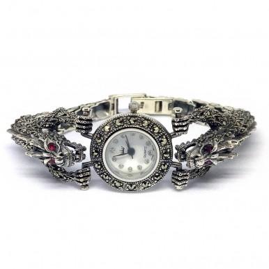 Дракон Женские Наручные Серебряные Часы с Марказитом