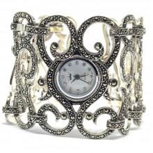 Очень Широкие Женские 925 Серебряные Часы с Марказитами