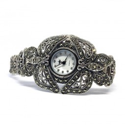 Большие Бабочки Женские Наручные Часы Серебро с Марказитом