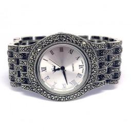 Большие Мужские Серебряные Наручные Часы с Марказитом
