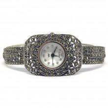 Милые Прямоугольные Серебряные Часы Женские с Марказитом