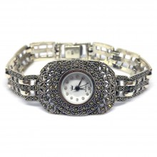 Прямоугольные Серебряные Женские Наручные Часы с Марказитом