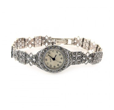 Натуральный Марказит Серебряные Наручные Часы для Женщин