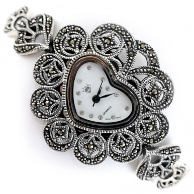 Сердечко Женские Наручные 925 Серебряные Часы с Марказитами