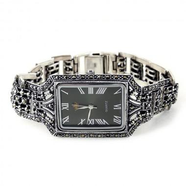 Крупные Серебряные Наручные Часы с Марказитом для Женщин и Мужчин