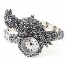 Попугай Птица Какаду Натуральный Марказит Серебряные Часы