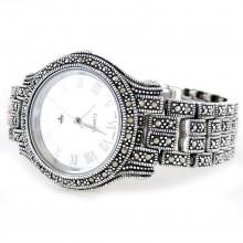 Большие Часы из Серебра Женские с Натуральным Марказитом (Унисекс)