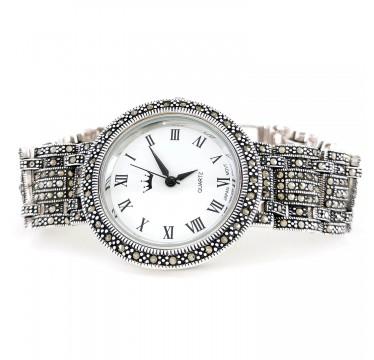 Крупные Часы из Серебра с Марказитами для Женщин и Мужчин