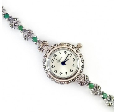 Милые Женские Серебряные Часы на Руку с Марказитом и Изумрудом