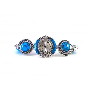 Красивые Женские Серебряные Часы с Марказитом и Бирюзой