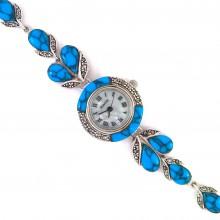 Драгоценные Женские Часы из Серебра Капельное Серебро с Бирюзой