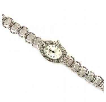 Нежные Серебряные Наручные Часы для Женщин с Марказитом
