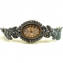 Чарующие Серебряные Наручные Часы для Женщин с Марказитом