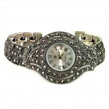 Капельное Серебро Ювелирные Наручные Часы для Женщин с Марказитом