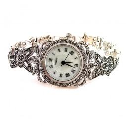 Серебряные Наручные Женские Часы с Натуральным Марказитом